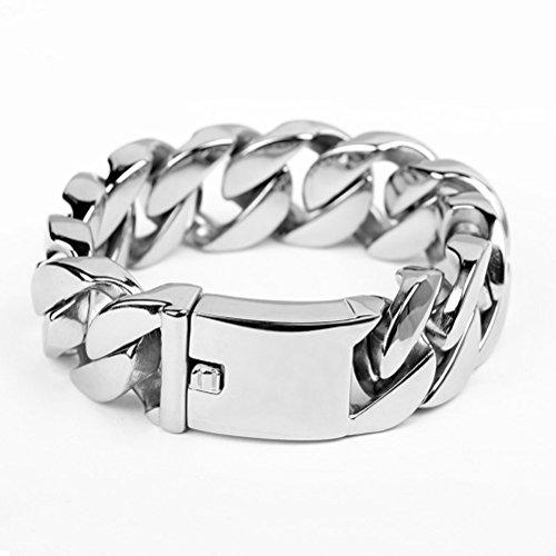 "UGE Men's Jewellery Titanium Steel Geometric Style Link Bracelet Silver High Polished Chain Length 9.05"""