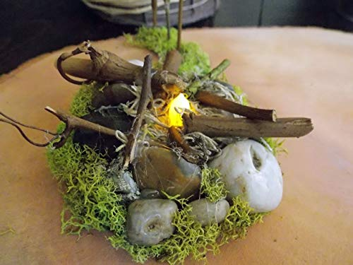 Lighted Miniature Small Campfire Fire Pit for Summer Fall Fairy Garden Battery Operated Candle with Real Wood Pebbles Stones and Automatic Timer (Fire Pit Automatic)