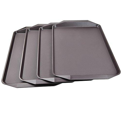 HOMMP Plastic Rectangular Fast Food Serving Trays, Set of 4 (Brown)