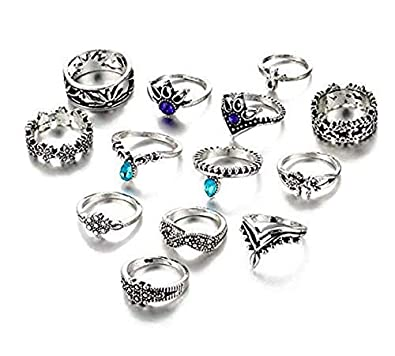 93b8d18bded Moda Accessories Fashion Antique Silver Set of 13 Midi Finger Rings for  Girls