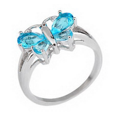 marine Butterfly Shaped CZ Wedding Ring Size 9 Jewellry White Gold Filled ()