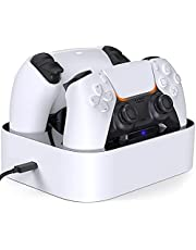 HEIYING PS5 Charging Station with Dual Channels Fast Charge Dock for Playstation 5 Controller with Blue LED Indicator,White & Black