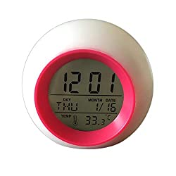 BBZXLL Colorful Perpetual Calendar Alarm Clock, Round Pat Light Multi-Function Snooze Clock 7 Color Color Change Backlight Children's Bedside,Red
