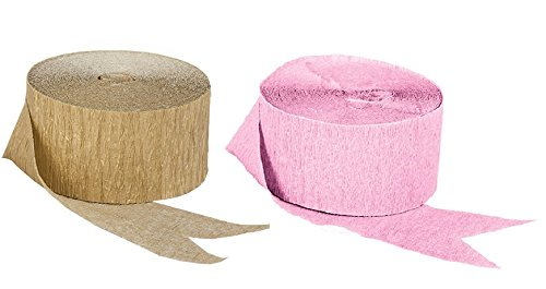 Pink and Dark Metallic Gold Crepe Paper Streamers (2 Rolls Each Color) MADE IN (Metallic Gold Streamer)