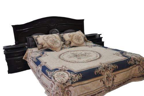 Tache 3 Pc Woven Victorian Chenille Blue Medallion Garden Guardian Floral Quilt Bedspread Set, Twin