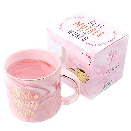 BEST MOM EVER COFFEE MUG - Gift Ready - 12oz Gold and Pink Ceramic Marble Coffee Cup - Perfect as gifts for mom, mother coffee mug, mother birthday present and Mother's Day Gifts for Mum. Exceptional