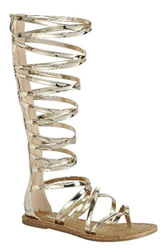 Dev Mujeres Knee High Hebilla Strapy Cage Flat Gladiator Marcelona Sandalias Zapatos Gold / Cinema-65