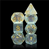 Hddais Polyhedral DND Dice Sets Transparent Glitter Dice for Dungeons and Dragons Pathfinder RPG MTG Table Gaming Dice