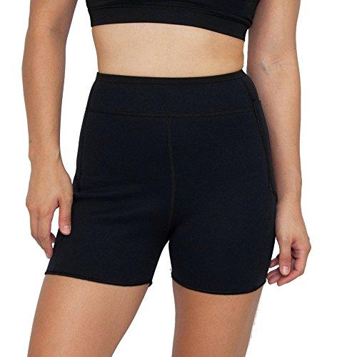 Delfin Spa Women's 3 inch Inseam Heat Maximizing Anti Cellulite Exercise Shorts, BLACK, Small