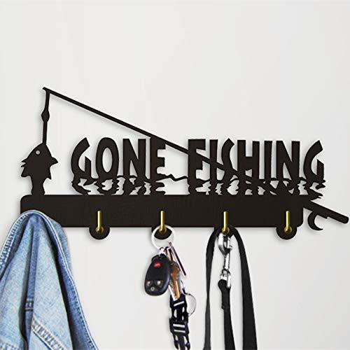 GOP Store Wall Hook Keys Holder Hooks Organizer Hook Gone Fishing Wall Sign Creative Hanging Hooks Modern Home Decor from GOP Store