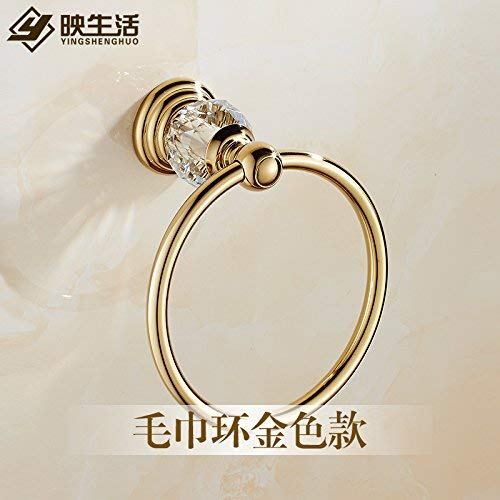 Xixuanstore Golden Crystal Towel Ring Antique athroom Towel Rack Towel Hook-and-Loop Plated (Color : B)
