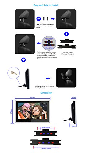 DDAUTO DD101HD Headrest DVD Player 10.1 Inch 1080P HD Digital TFT Screen Touch Keys Monitor Multimedia Choices Supports HDMI, USB SD card with Complete Accessories by DDAUTO (Image #5)