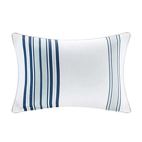 Newport Printed Stripe 3M Scotchgard Outdoor Modern Throw Pillow Contemporary Striped Fashion Oblong Decorative Pillow, 14X20, Navy