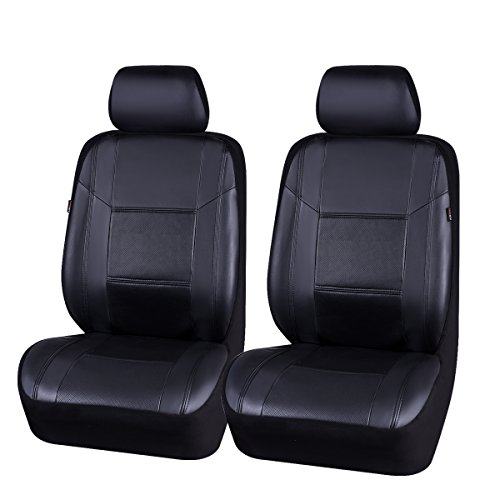 NEW ARRIVAL- CAR PASS Skyline PU LEATHER CAR SEAT COVERS - UNIVERSAL FIT FOR CARS,SUV,VEHICLES (6PCS, Elegent Black With Black) ()