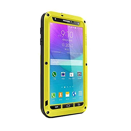 ELECDAY[TM] Metal Corning Gorilla Glass Shockproof/ Dustproof/ Weatherproof/ Water resistant Military Heavy Protection Hard Cover Skin Case Pouch Shell Membranes For Samsung Galaxy Note 4 note4 N9106 N9108 N9109 SM-N910 + BRAND LOGO Full-body Waterproof Cellphone Protective Bag (Yellow)