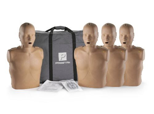 Prestan Professional Adult Dark Skin CPR-AED Training Manikin 4-Pack (with CPR Monitor)