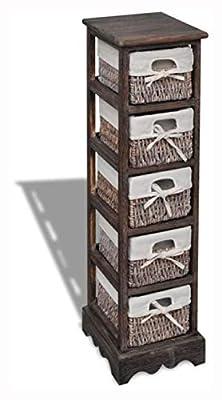 PROGLEAM Storage Cabinet & Locker, Brown Wooden Storage Rack 5 Weaving Baskets