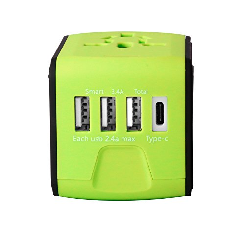 International Travel Power Adapter with 2.4A 3 USB Type C Universal Charger Worldwide AC Wall Outlet Plugs for UK, US, AU, Europe & Asia-(Green)