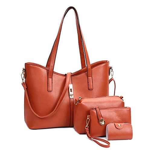 SIFINI Women Fashion PU Leather Handbag+Shoulder Bag+Purse+Card Holder 4pcs Set Tote Handbag (large, brown)