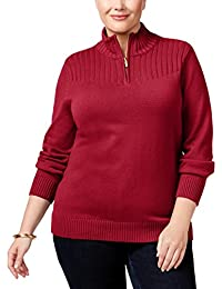 Womens Plus Ribbed Mock Neck Turtleneck Sweater
