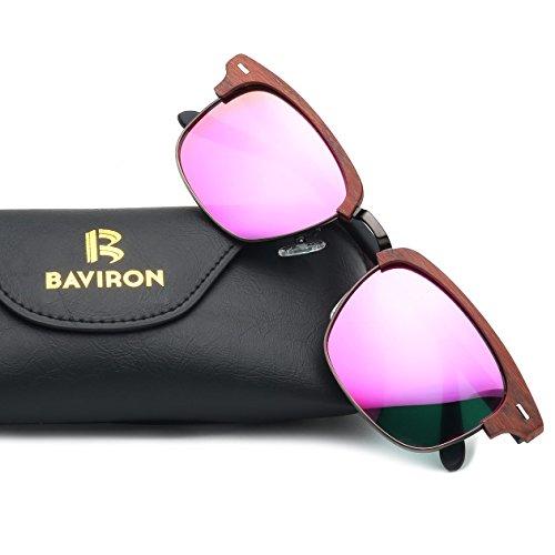 BAVIRON Mens Rectangle Acetate Sunglasses Similar Wooden Grain Polaroid Lens Glass UV400 (C92 - Polaroid Buy Sunglasses