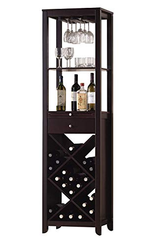 acme 12244 Casey Wine Cabinet Set, Wenge - Wood Finish Wenge