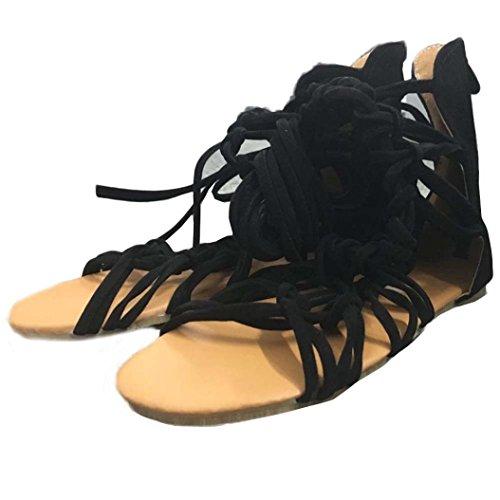 Damen Sandalen Kaiki Frauen Bohemian Black mit Stiefel Freizeitschuhe Kreuzgurte Sommer Flachen Römersandalen qUxqarw1B
