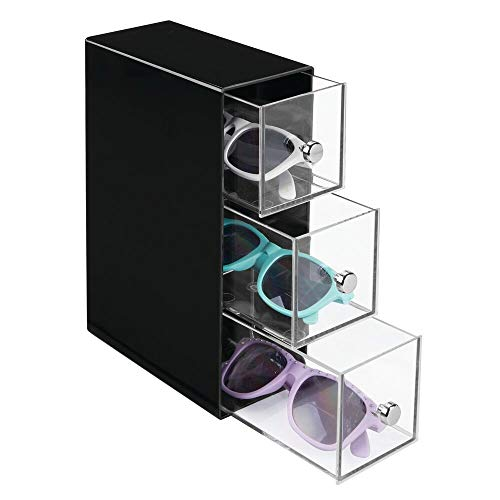 mDesign Slim Plastic Eye Glass Case - Storage Organizer Box Holder for Sunglasses, Reading Glasses, Accessories - Use Horizontally or Vertically - 3 Drawers, Chrome Pulls - ()