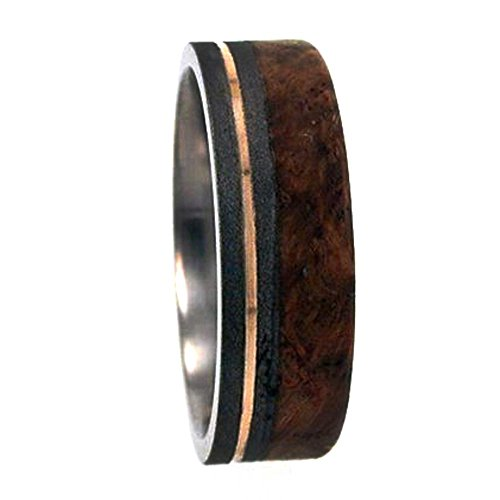 Black Ash Burl Wood, 14K Yellow Gold 6mm Comfort Fit Sandblasted Titanium Band, Size 7.75