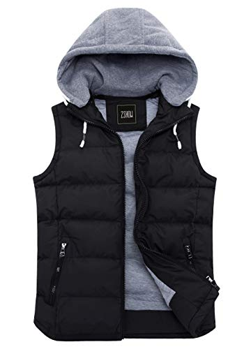 - ZSHOW Women's Winter Padded Vest Removable Hooded Outwear Jacket US X-Large, Black