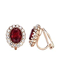 Yoursfs Clip on Earrings Oval Austrian Crystal Vintage Halo Non Pierced Earring for Women