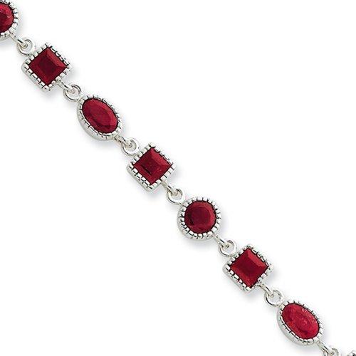 Icecarats Créatrice De Bijoux En Argent Sterling Bracelet En Rubis 7 Pouces
