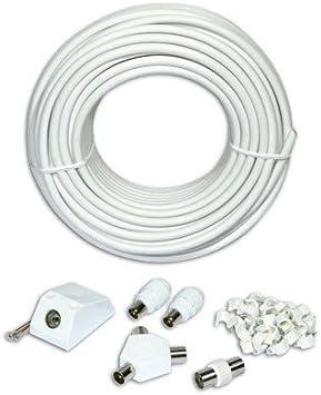 SLx 27522R - Cable alargador de antena (25 m), color blanco [importado]