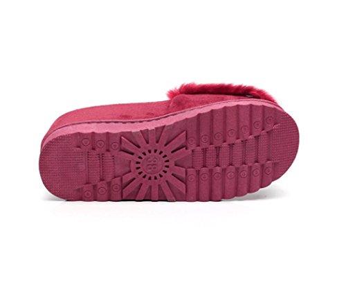 Moelleux QinMM Chaussures Fourrure Vin velours Faux Chaud Bas Bowknot Hiver Neige rouge Fille Plat Mode Chaussons Femmes TW7X8q8Y