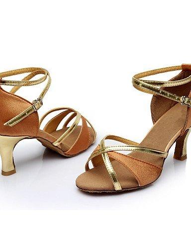 ShangYi Customizable Women's Dance Shoes Latin Satin/Leatherette Customized Heel Black/Blue/Brown/Red Red z09EncSI