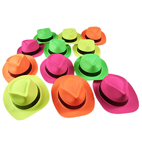 Neon Color 24 Piece Pack Plastic Gangster Fedora Party Novelty Hat Costume Parties New Years (Neon Fedora Hats)