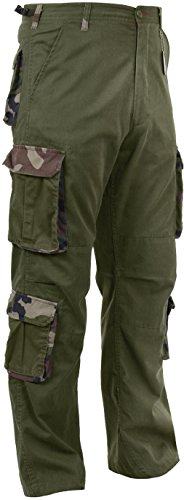Olive Drab/Camo Vintage Paratrooper Fatigues Military Cargo BDU Pants 8-Pocket