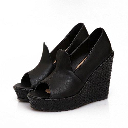 VogueZone009 Womens Open Peep Toes High Heel Wedge Platform Soft Material PU Solid Pumps Black
