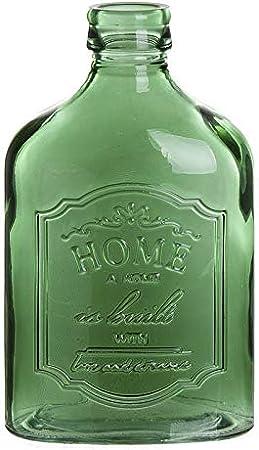 Eideo Home Jarron Florero Cristal Botella Plana Portobello