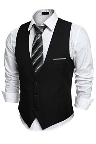 Coofandy Men's V-neck Sleeveless Slim Fit Jacket Casual Suit Vests, Type-01 Black, Large by COOFANDY