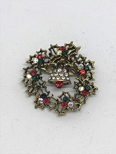 christmas wreath pin brooch gold or silver