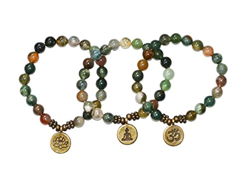 Artisan Crafted Rose Quartz Jasper Agate Handmade Bracelet ~ OM Lotus Buddha ~ Ethically Sourced Jewellery Presented in Retail Gift Box (Green Gemstones-Triple Pack)