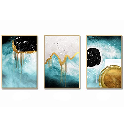 TaeHyung Golden Abstract Landscape Wall Art Canvas Painting Nordic Posters and Prints Decoration Home Wall Pictures Living Room Decor,35x50cm No Frame,3pcs