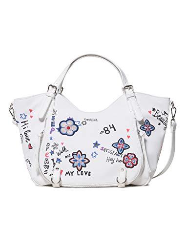 Desigual - Bag Shibuya Rotterdam Women, Shoppers y bolsos de hombro Mujer, Blanco, 15x30x31 cm (B x H T)