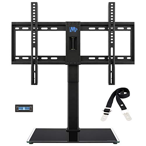 Mounting Dream Universal TV Stand - Table Top TV Stands for 42-60 Inch LCD LED TVs, 4 Height Adjustable TV Base Stand with Tempered Glass Base and Anti-tip Strap, Max -