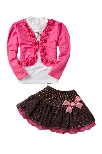 YMING Girls Skirt Sets Long Sleeve Tops Shirt Tutu Skirt Set Rose 2-3 Years