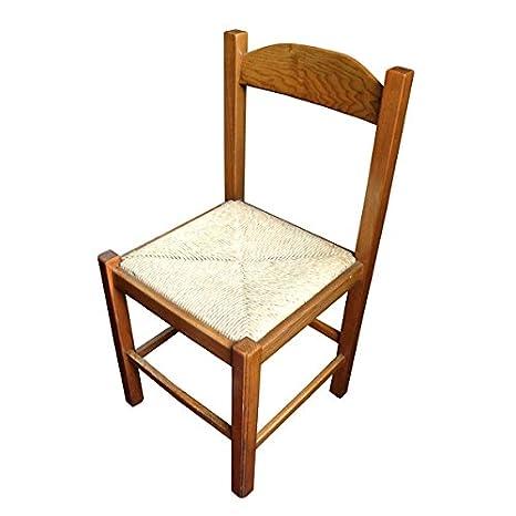 OSN sedia in legno massello con seduta impagliata per cucina e sala ...