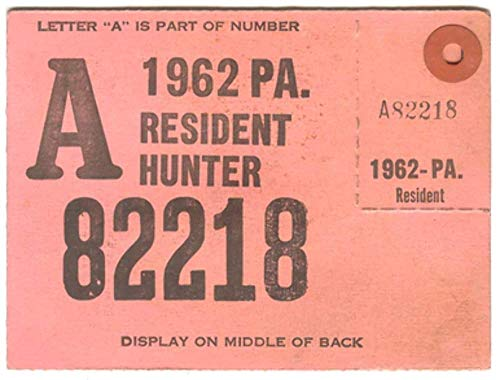 Used, 1962 Resident Hunter PA Hunting License - #A82218 for sale  Delivered anywhere in USA
