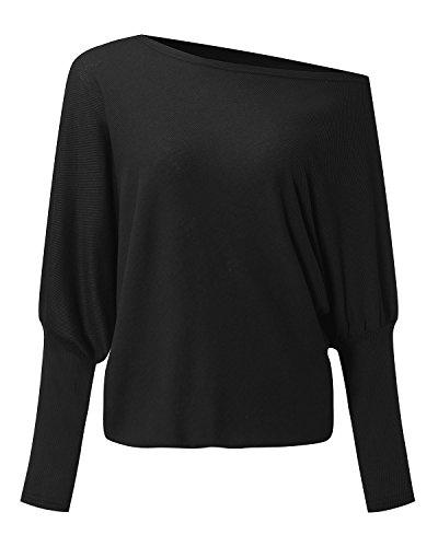 StyleDome Camiseta Larga Mujer Elegante Mangas Largas Oficina Escote Barco Casual Escote Asimétrico Negro