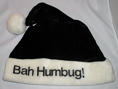 Black Bah Humbug Scrooge Holiday Christmas Santa (Black Santa Hat)